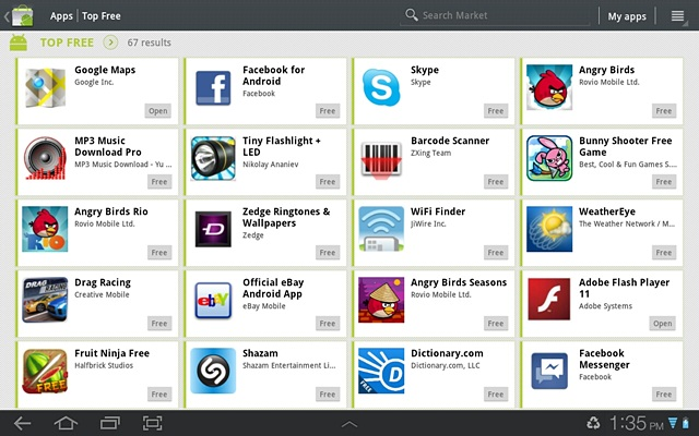 Screenshot of the Android Market from the Samsung Galaxy Tab 10.1