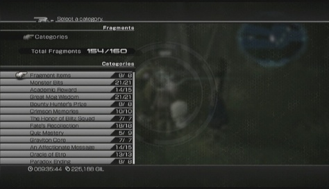 FFXIII-2: Current amount of fragments collected