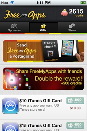 FreeMyApps - Gifts Screen
