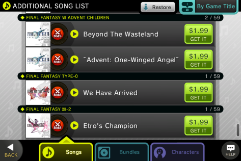 Theatrhythm iOS - Some tracks from the Songs IAP menu