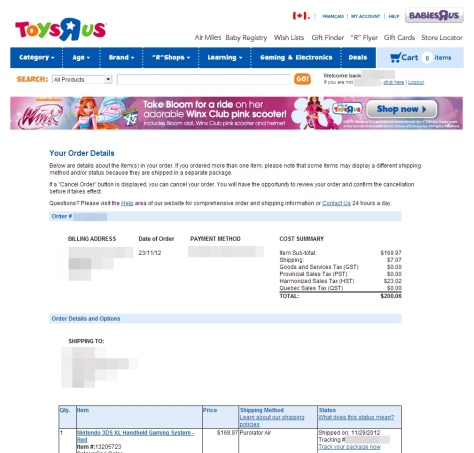 Hey, Toys R Us, this Webpage doesn't count as a fucking confirmation E-MAIL.