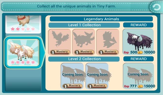 Tiny Farm - Legendary Animals Level 1 Collection Screen