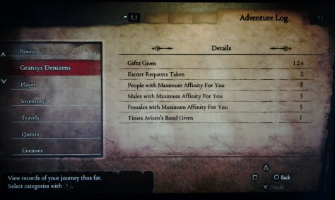 Dragon's Dogma: Dark Arisen - Escort & Affinity log
