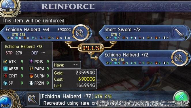 Ys: Memories of Celceta - Reinforcing Frieda's Final Weapon
