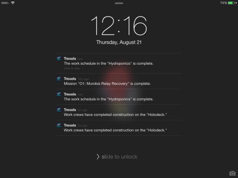 The primary method of playing Trexel: relying on the notifications window!