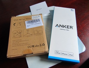 Boxes for the Anker 6 ft Nylon Braided USB Cable with Lightning Cable and JETech Multi-Angle Mini Portable Durable Aluminum Tablet Stand.