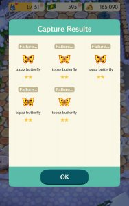 Animal Crossing: Pocket Camp -- Topaz butterflies from Rover's Crappy Ass Event