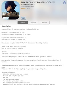 Final Fantasy XV: Pocket Edition - App Store description